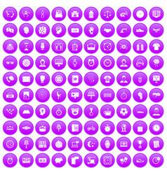 100 clock icons set purple vector