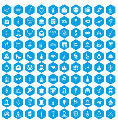 100 valentine day icons set blue vector
