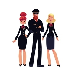Airline pilot and two flight attendants vector image