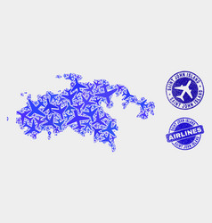 Airlines collage saint john island map and vector
