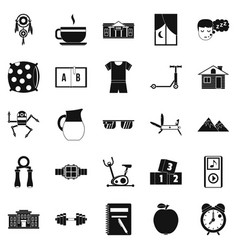Alarm clock icons set simple style vector