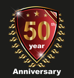 Anniversary 50 th label with ribbon vector