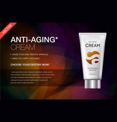 Anti-aging hand cream contained in cosmetic tube vector