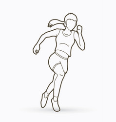 Athlete runner a woman runner running outline vector