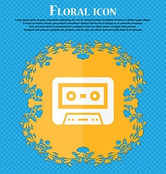 audiocassette icon Floral flat design on a blue vector image