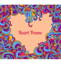 background with abstract Heart frame curls vector image