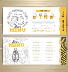 Beer bar menu design vector image