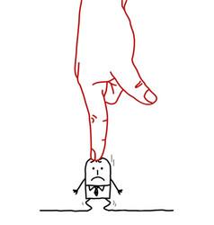 Big hand and cartoon businessman - under pressure vector