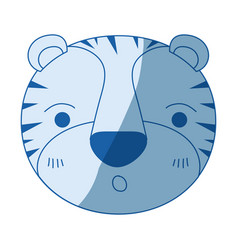 blue color shading silhouette cute face of tiger vector image