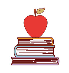 Books stacked with apple on top in colorful vector
