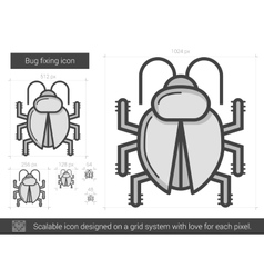 Bug fixing line icon vector