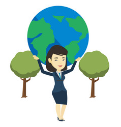 Business woman holding globe vector