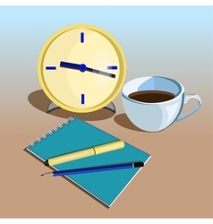 Business workplace with clock pen pencils and vector