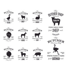 butcher american shop labels design set with vector image