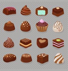 cartoon chocolate desserts and candies vector image vector image