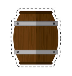 cartoon wooden barrel wine icon vector image