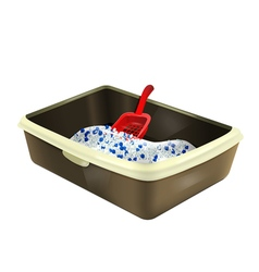 Cat litter box with silica gel and scoop vector