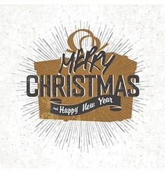 christmas card with christmas gift box silhouette vector image