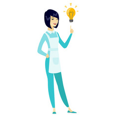 cleaner pointing at business idea bulb vector image