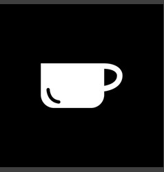 coffee cup empty icon on black background black vector image