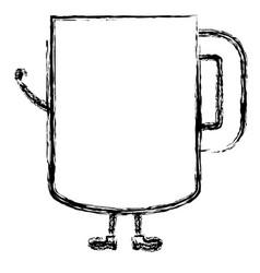 Coffee mug kawai character vector