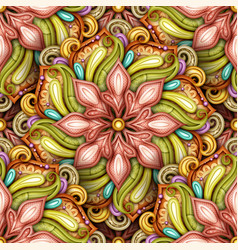 colored seamless pattern with mandala motifs vector image