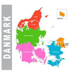 colorful danmark administrative and political map vector image