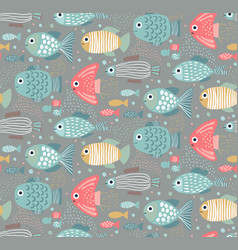 colorful seamless pattern with funny fishes vector image