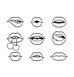 contours lips vector image