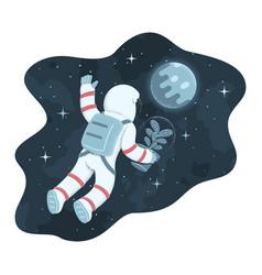 Cosmonaut floating in weightlessness towards vector