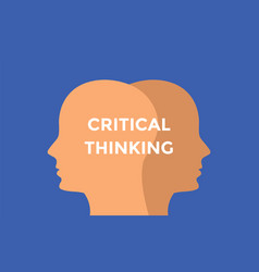 critical thinking concept with head silhouette vector image