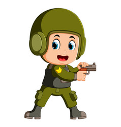 cute soldier with a gun vector image