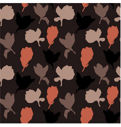 dark floral silhouette repeat seamless pattern vector image