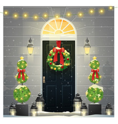 decorated christmas front door background vector image