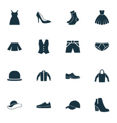 Dress icons set collection of cardigan female vector