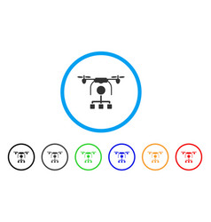 drone distribution rounded icon vector image vector image