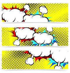 Explosion retro pop art cloud collision concept vector
