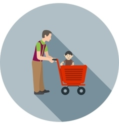 Father Son Shopping vector