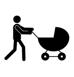 father with pram icon vector image