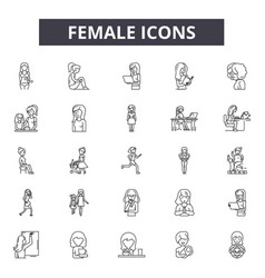 female line icons signs set outline vector image
