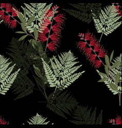 Fern tropical leaves and exotic flower pattern vector