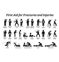 First aid for fractures and injuries on different vector