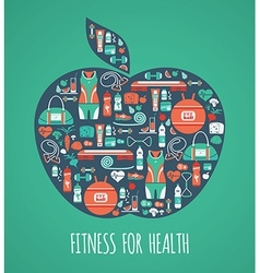 Fitness icons background in apple shape vector