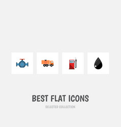 Flat icon oil set of petrol flange droplet and vector