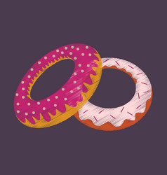Flat shading style icon donuts vector