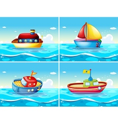 Four different types of boats floating on the sea vector image