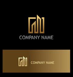 gold building line company logo vector image
