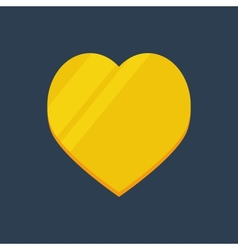 Gold flat heart vector image