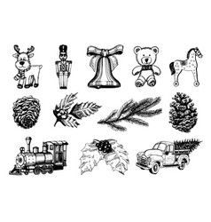 Hand drawn of christmas toys vector