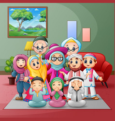 Happy big muslim family members gathered together vector